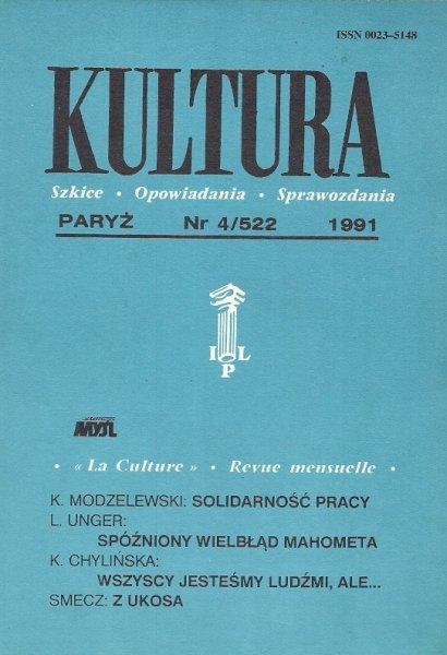 Kultura. Szkice, opowiadania, sprawozdania. Nr 4/522 [właśc. 523]: IV 1991.