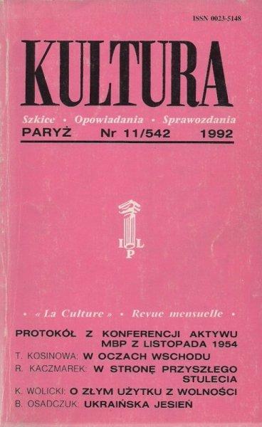 Kultura. Szkice, opowiadania, sprawozdania. Nr 11/542: XI 1992.