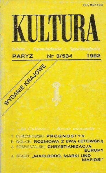 Kultura. Szkice, opowiadania, sprawozdania. Nr 3/534: III 1992.