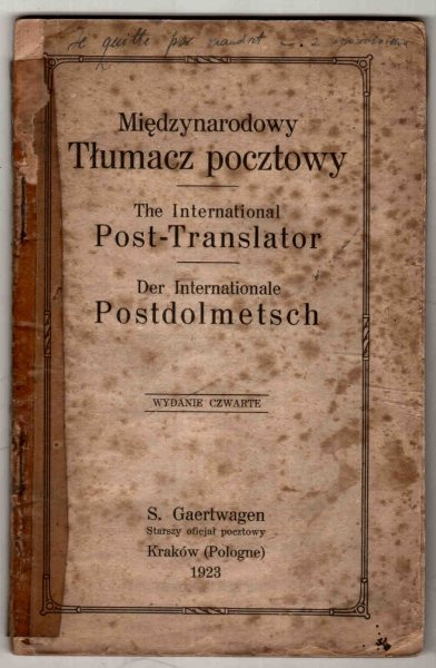 Międzynarodowy tłumacz pocztowy/ The International Post-Translator/ Der Internationale Postdolmetsch