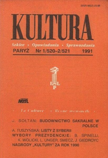 Kultura. Szkice, opowiadania, sprawozdania. Nr 1/520-2/521: I-II 1991.