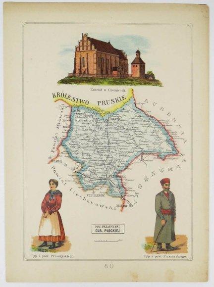 Bazewicz J. M. - Powiat przasnyski guberni płockiej - mapa 1907.