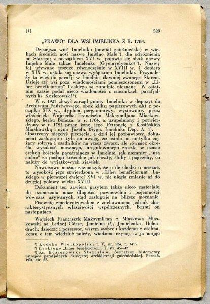 Kaczmarczyk K. - Prawo dla wsi Imielinka z r. 1764. [Nadbitka]