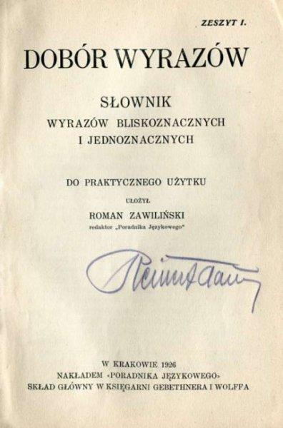 Zawiliński Roman - Dobór wyrazów.
