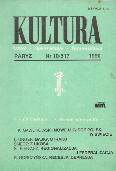 Kultura. Szkice, opowiadania, sprawozdania. Nr 10/517: X 1990.