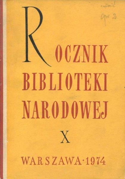 Rocznik Biblioteki Narodowej. Nr 10: 1974