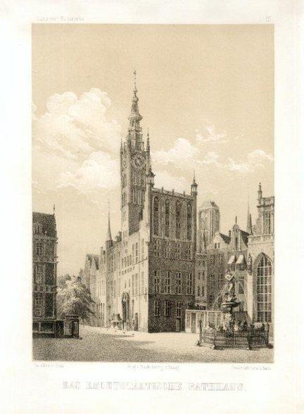 [GDAŃSK]. Das rechtstädtische Rathaus. Litografia na tincie 23,5x16,6 cm.