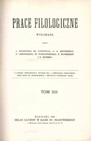 Prace Filologiczne. T.13