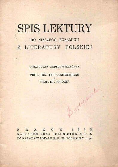Spis lektury do niższego egzaminu z literatury polskiej
