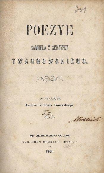 TWARDOWSKI Samuel z Skrzypny - Poezye