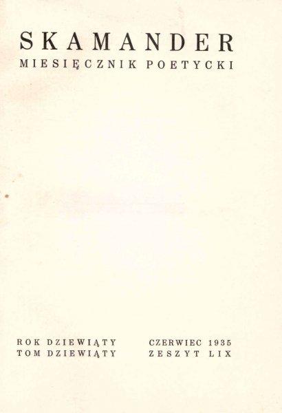 Skamander. Zeszyt LIX 1935