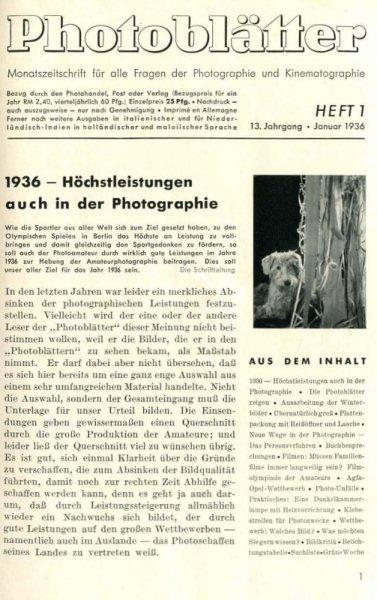 AGFA Photoblätter. Jg. 13, nr 1-6: I-XII 1936.
