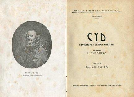 [Corneille Pierre] Kornel Piotr - Cyd. Tragedya w 5. aktach wierszem.