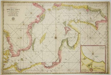Sanson Guillaume, Jaillot Hubert Alexis - [BAŁTYK]. Carte de la Mer Baltique, Contenant les bancs, isles et costes Comprises entre l'Isle de Zelande et l'Extremité du Golfe de Finlande