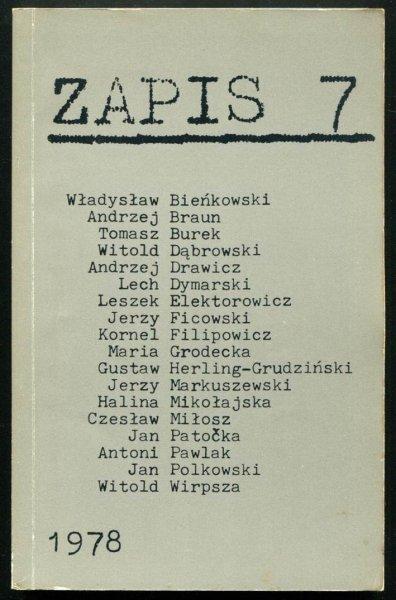 Zapis: poezja, proza, eseje, kronika. [R. 2], nr 7: VII 1978.