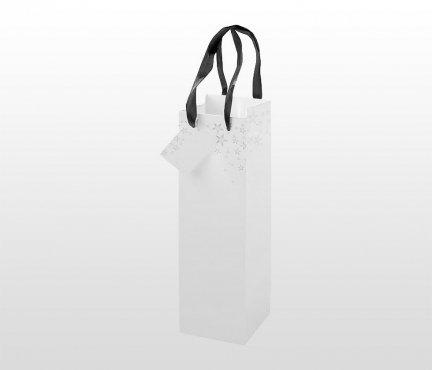 Torba prezentowa na kubek, bidon, butelkę 10x10x30 cm STARS (biały)