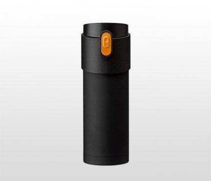 Kubek termiczny z zaparzaczem 350 ml PAO (czarny/pomarańczowy)