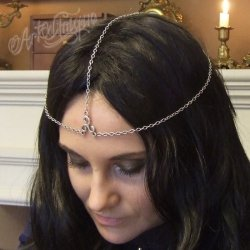 Srebrny łańcuszek na głowę z filigranem