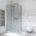 Kabina kwadratowa bezprofilowa 90x90 chrom szkło grafit