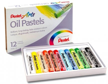 PASTELE Olejne Kredki 12 kolorów PENTEL