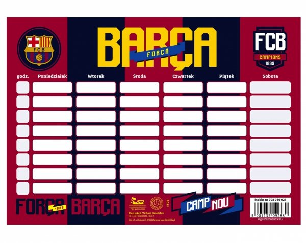 PLAN LEKCJI Fc Barcelona Rozkład Dnia FC-118 Astra