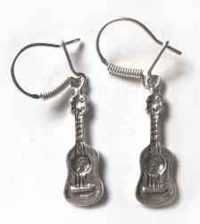 Zebra Gitara klasyczna kolczyki srebro