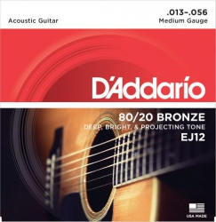 D'Addario EJ12 struny do gitary akustycznej 13-56 bronze
