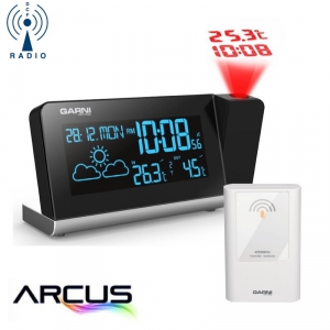 Stacja pogody bezprzewodowa Garni 335 ARCUS z czujnikiem zewnętrznym budzik z projektorem