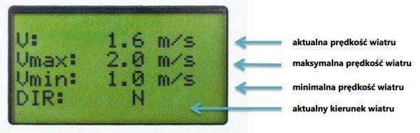 Rejestrator prędkości i kierunku wiatru LCD 3-kanałowy PM Ecology VIS-103 wiatromierz alarmowy z wbudowaną pamięcią