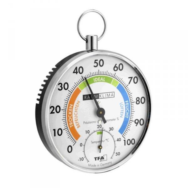 Termohigrometr tradycyjny TFA 45.2027 czujnik temperatury i wilgotności mechaniczny włókna syntetyczne 102 mm