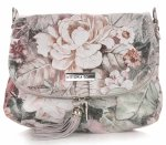 Listonoszka Skórzana VITTORIA GOTTI Made in Italy V17  w Kwiaty Multikolor Szara