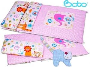 Śpiworek przedszkolaka różowa kratka z aplikacją słonia