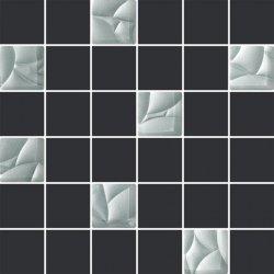PARADYŻ esten bianco/grafit mozaika cieta k.4,8x4,8  29,8x29,8 g1 szt.