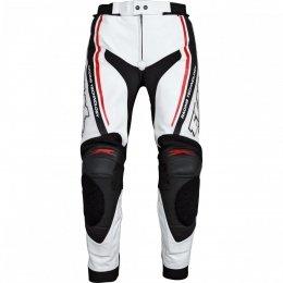 FLM PACE spodnie skórzane biało-czarne