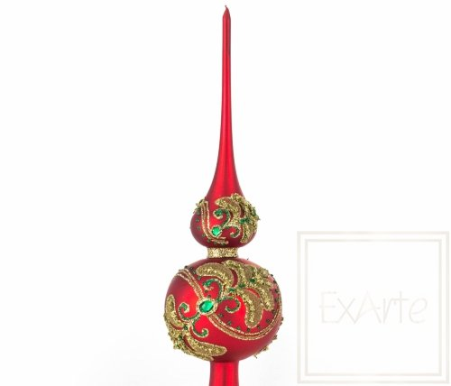 Spitze 33cm – Smaragde auf Rot