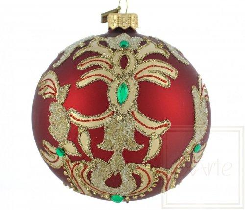 Christbaumkugel 10cm – Smaragde auf Rot