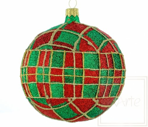 Christbaumkugel 10cm – Brokat‑Tartan