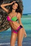 Marko Kostium kąpielowy Tamara M-399 Blu Scuro-Rosa Shocking-Blight Green