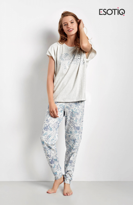 Esotiq Cristal 34546-09X lekko szara z niebieskim piżama damska