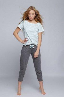 Sensis Karen (3/4 spodnie) zielono-szara piżama damska