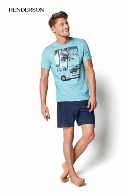 Henderson PJ019 34974-60X Jasnoturkusowa piżama męska