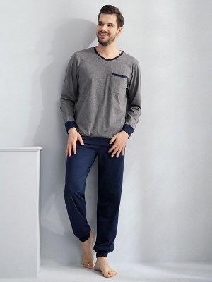 Luna Victor 727 Szara piżama męska