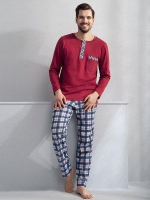 Luna Lucas 748 Bordowa piżama męska