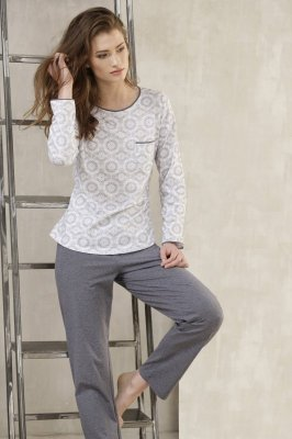 Cana Esthera 381 Biało-szara piżama damska