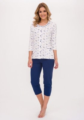Cana Rebecca 389 Biało-granatowa piżama damska