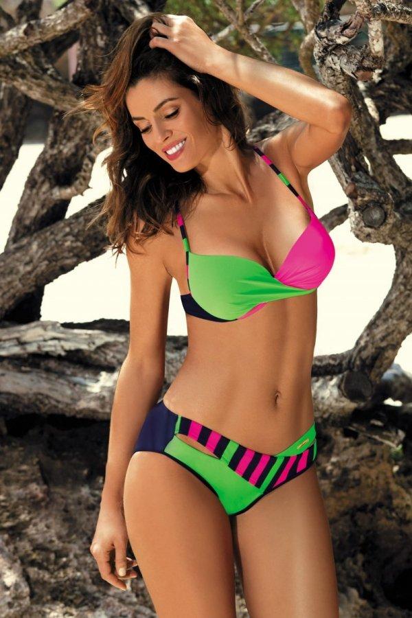 Marko Kostium kąpielowy Tamara M-399 Blu Scuro-Blight Green-Rosa Shocking