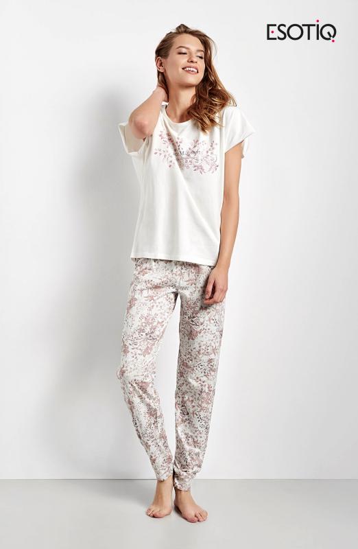Esotiq Cristal 34546-01X ecru z różem piżama damska