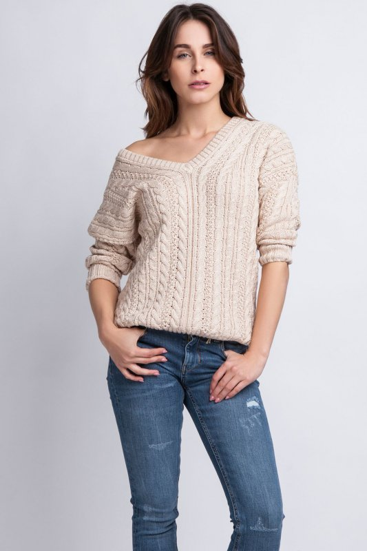 MKMSwetry Kendall SWE 079 beżowy sweter