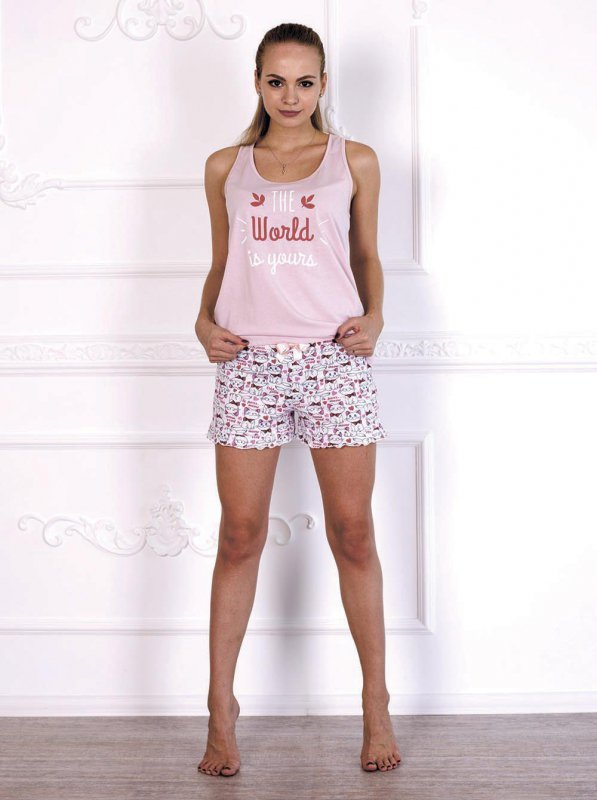Roksana The World is Yours 579 Róż + kotki piżama damska