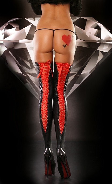 Lolitta Lacing Stocking red Pończochy